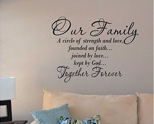 Our Family a Circle of Strength and Love Wall Vinyl Sticker Decal Home Decor Lettering(China (Mainland))