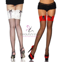 Fashion women nylon tights sexy fishnet thigh high stockings with lace top tights