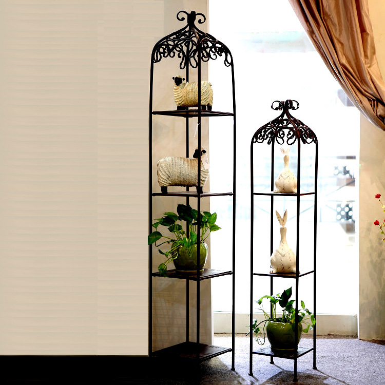Iron Flower Stand Gude Ou living room to do the old wrought iron flower square multilayer floor-movable racks<br><br>Aliexpress