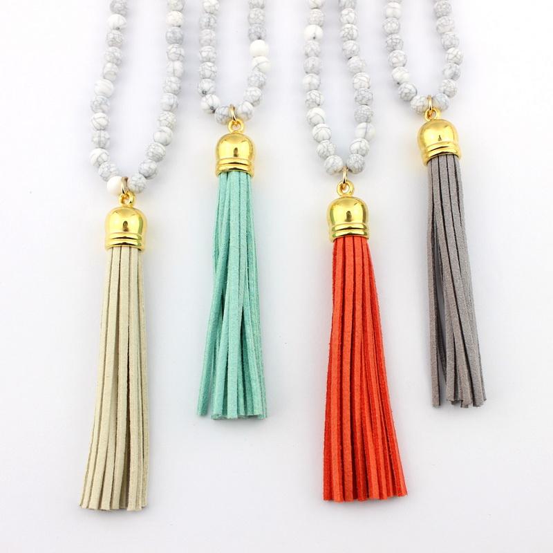 2016 Boho Summer Style Long Velvet Tassel Necklace Gold Fashion Turquoise Beaded Necklace Fashion Boutique Jewelry Wholesale(China (Mainland))