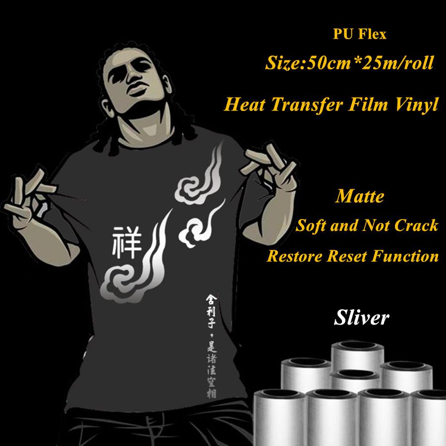PU Flex heat transfer vinyl for clothing classic sliver matte heat press vinyl heat transfer film vinyl plotter 50cm*25m/roll(China (Mainland))