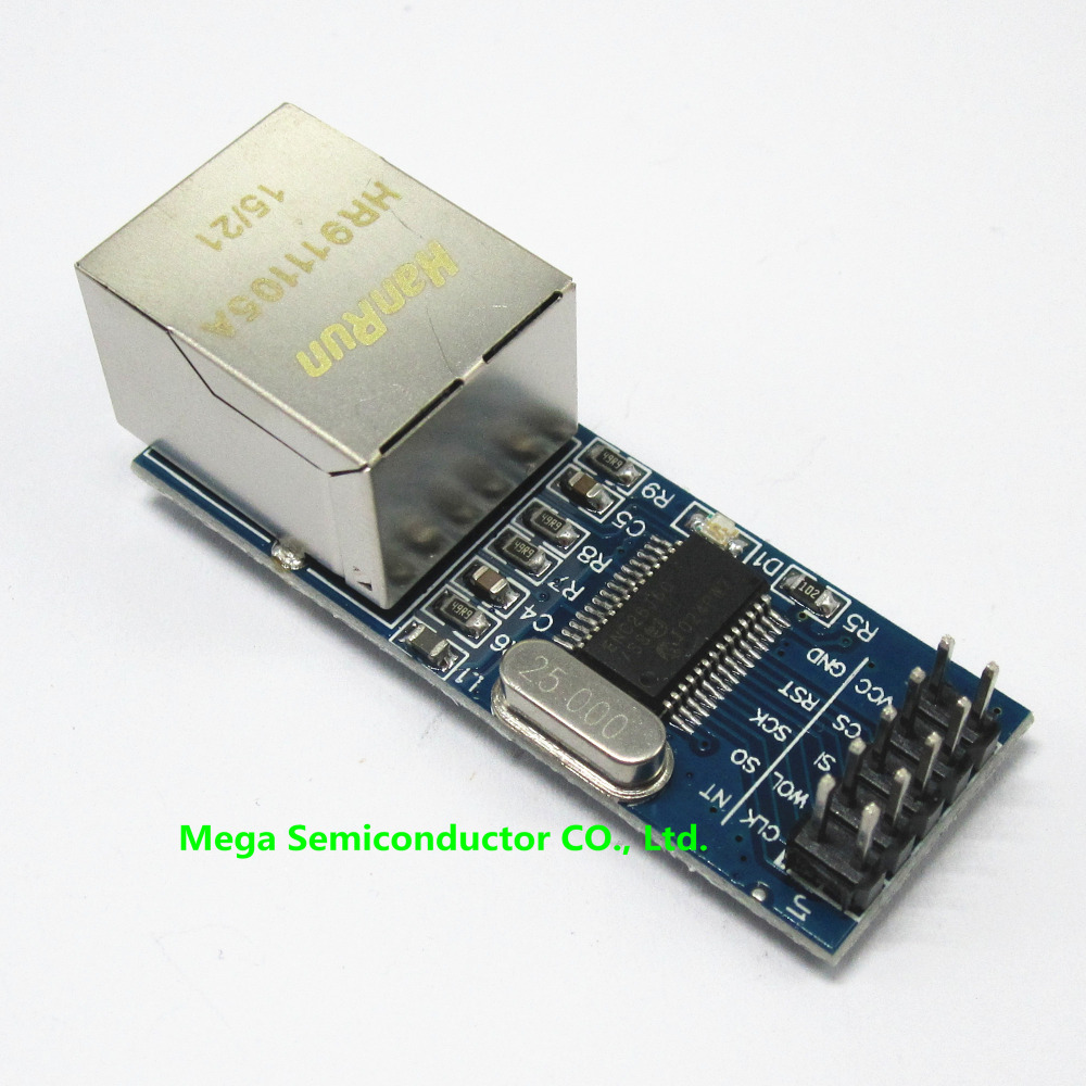 10pcs/lot Mini ENC28J60 SPI interface network module Ethernet module (mini version)(China (Mainland))