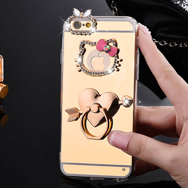 Mirror Electroplating Soft TPU hello kitty Bling diamond Metal Ring Stand Cases For iphone 6 6S 6 Plus 5se 5s 5 Cover Back case(China (Mainland))