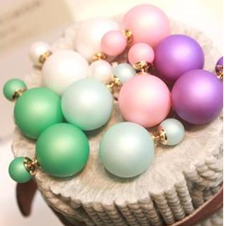 22 colors Hot Selling 2015 women Genuine Brand Double Side matte Pearl Stud Earrings Big wholesale christmas 2 cd bead H01(China (Mainland))