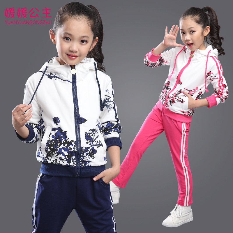 Girls Tracksuit Spring Girls Sport Suit Hoodies+Pants Girls Clothing Sets Girls Sweatshirts Floral Kids Clothes 291