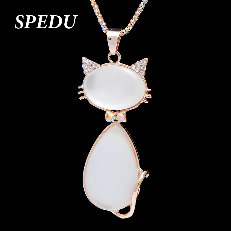 Cat Necklace Girl collare Long Sweater Chain Zinc Alloy Women Necklace Pendant(China (Mainland))