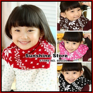 Snowflake baby scarf girls,Christmas scarf for childrens,Kids Neck Warmer,knitted Gaiter bufandas #2D2515 10 pcs/lot (4 colors)