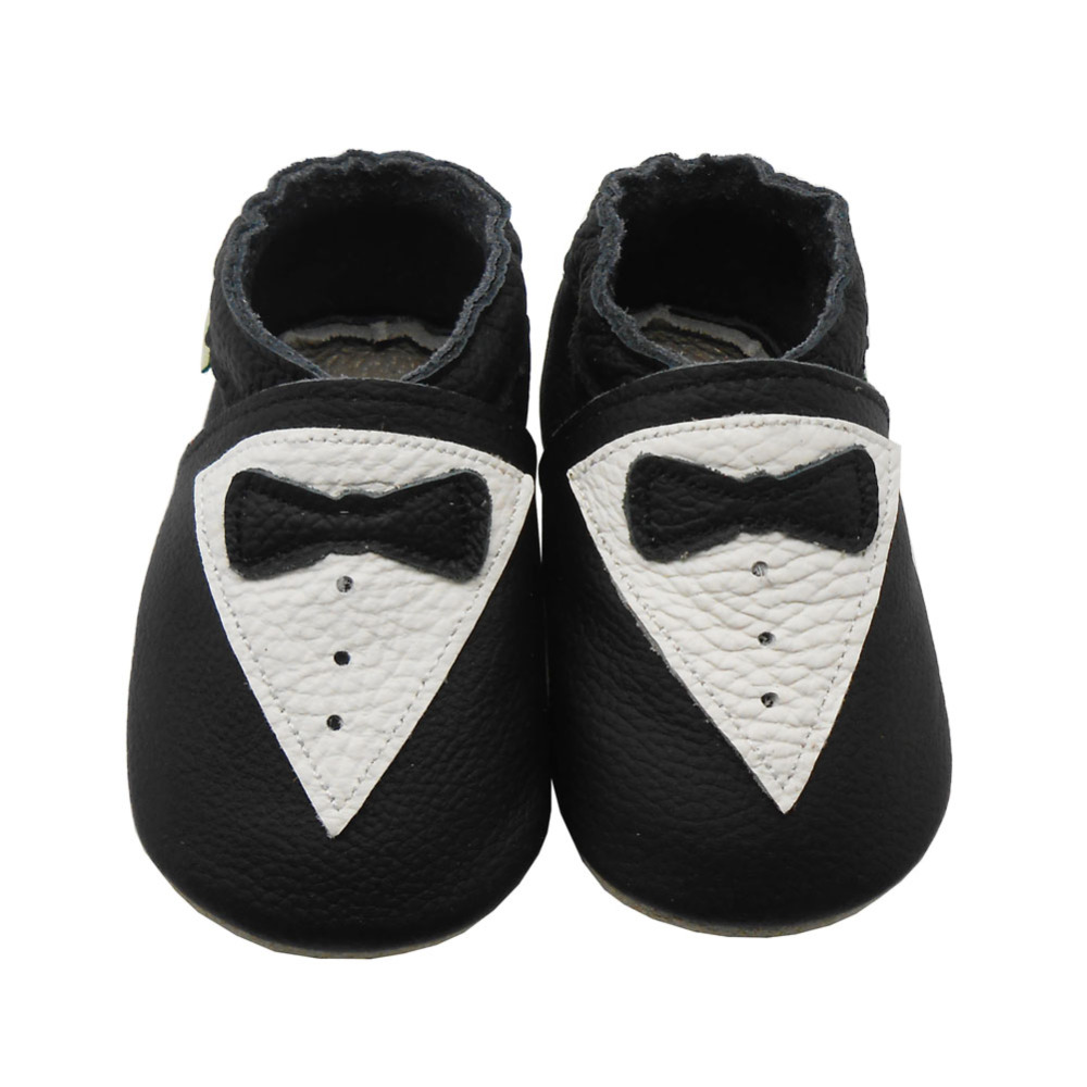 Sayoyo Brand Baby Leather Moccasins Black Baby Boy Shoes Girl Bow Slip-on Infant Toddler Crib Shoe First Walkers Free Shipping