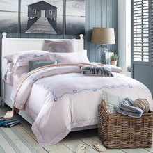 2016 100%Cotton 60s Satin Fabric Luxury 5 star Hotel Bedding set Embroidery white color  Embroidery / long staple cotton JQR121