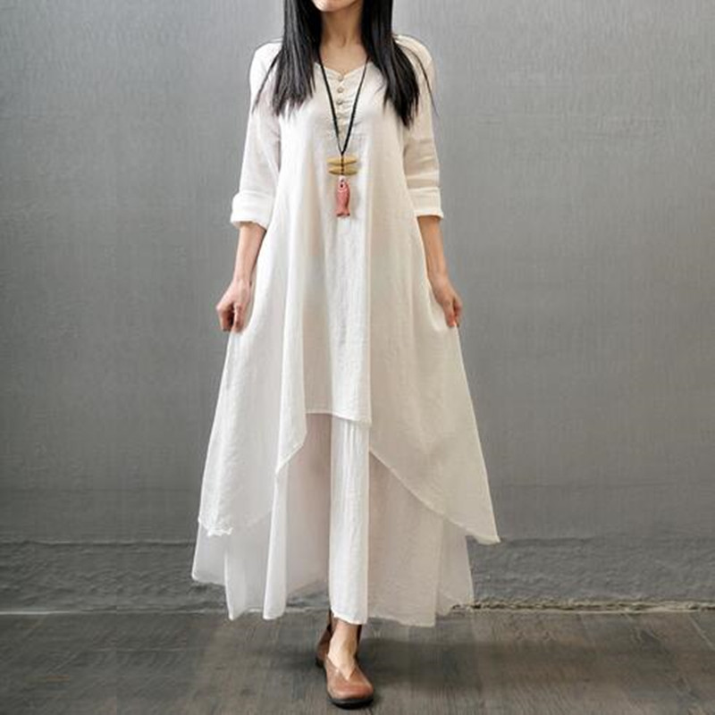 2016 Fashion Women Long Dress Cotton and Linen V neck Button Sexy White Dress Chinese Famous Brand Summer Womens Dresses Clothes(China (Mainland))
