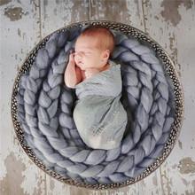 Newborn Photography Props Baby Photo Blanket 12 Colors 4M Long Basket Acrylic Filler Braid Basket Stuffer atrezzo fotos bebe(China (Mainland))