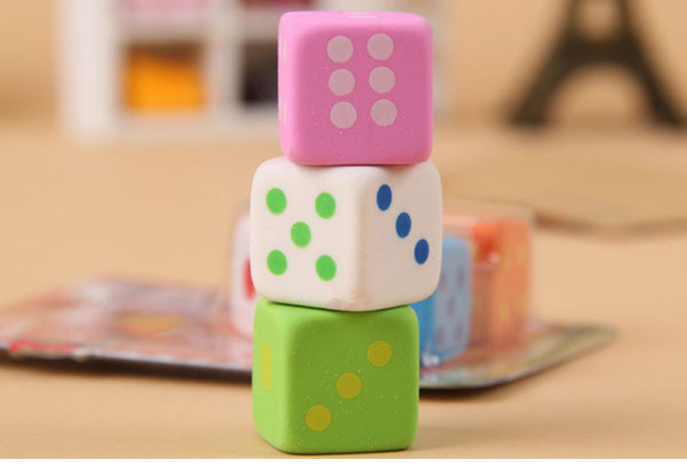 3 pcs/lot novelty dice shape rubber eraser creative kawaii stationery school supplies papelaria gift for kids Free shipping