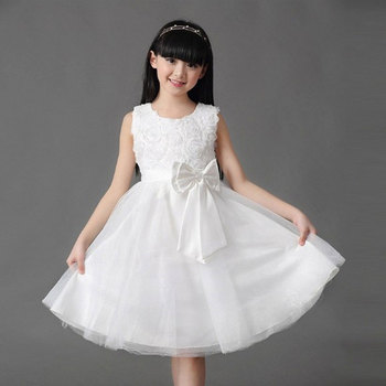 2016 new Girls Dress Princess dress baby girl dance party dresses flower girl dress with bow free shipping L-5031