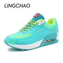 2016 Fashion Women Running Shoes Pink Blue Lace Up Sneakers For Girls Height Increasing Platform Sneakers Blue Size:35-40,953
