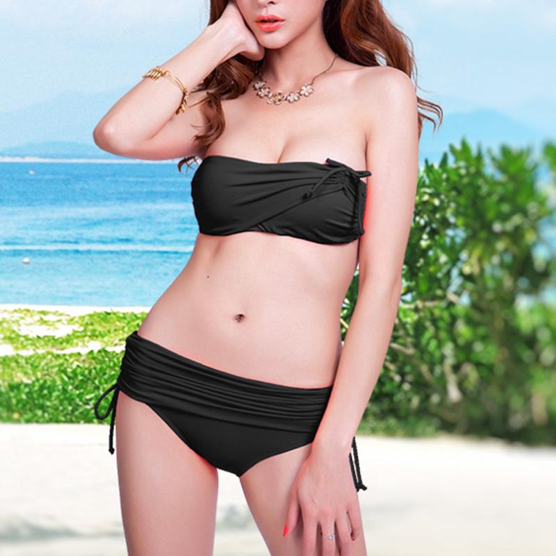 Sexy Swimwears Bikinis Women Swimwear Nylon Black Blue Pink Crop Top Bandeau Beach High Cut Swimsuit Bikinis Set Summer Style(China (Mainland))