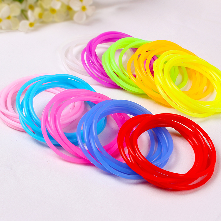 2015 fashion Multicolor elastic gum for bracelets Silicone rubber bracelet Hand Hair ring Trailing women band rope accessories(China (Mainland))