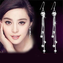 Silver plated female models long paragraph five beads earrings earrings retro fashion jewelry lovely wild super flash jewelry(China (Mainland))