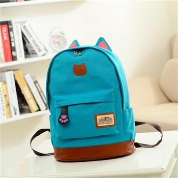 G>D 2016 Vintage Women Canvas Backpacks for Teenage Girls School Bags Cartoon Cat Backpack Female Travel Bag mochila rucksack