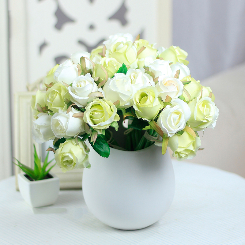 Buy High Quality Decorative Silk Artificial Flowers Rose Bou