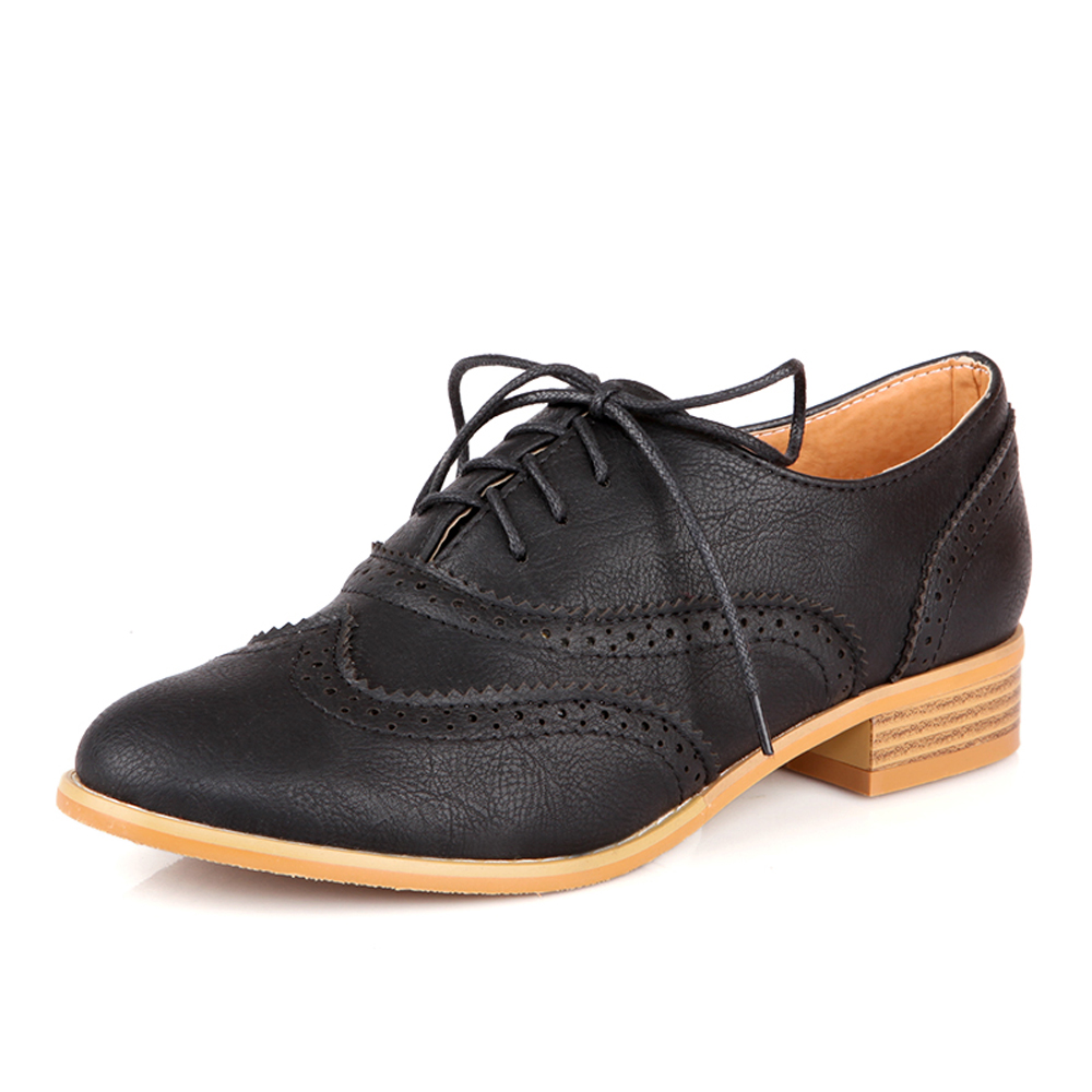 faux leather casual lace up toe black brogue ankle