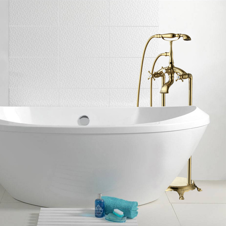 New classical gilded luxury telephone tap floor bathtub faucet mixing faucet rain shower set for bathroom(China (Mainland))