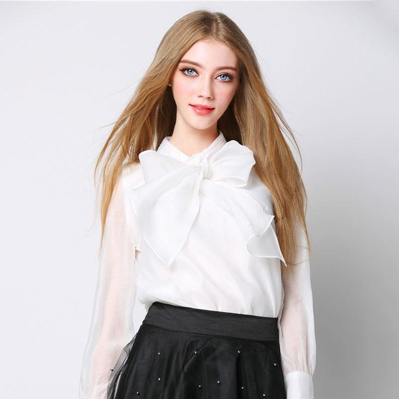 Long Sleeve Blouse With Bow Long Sleeve Silk Bow Tie
