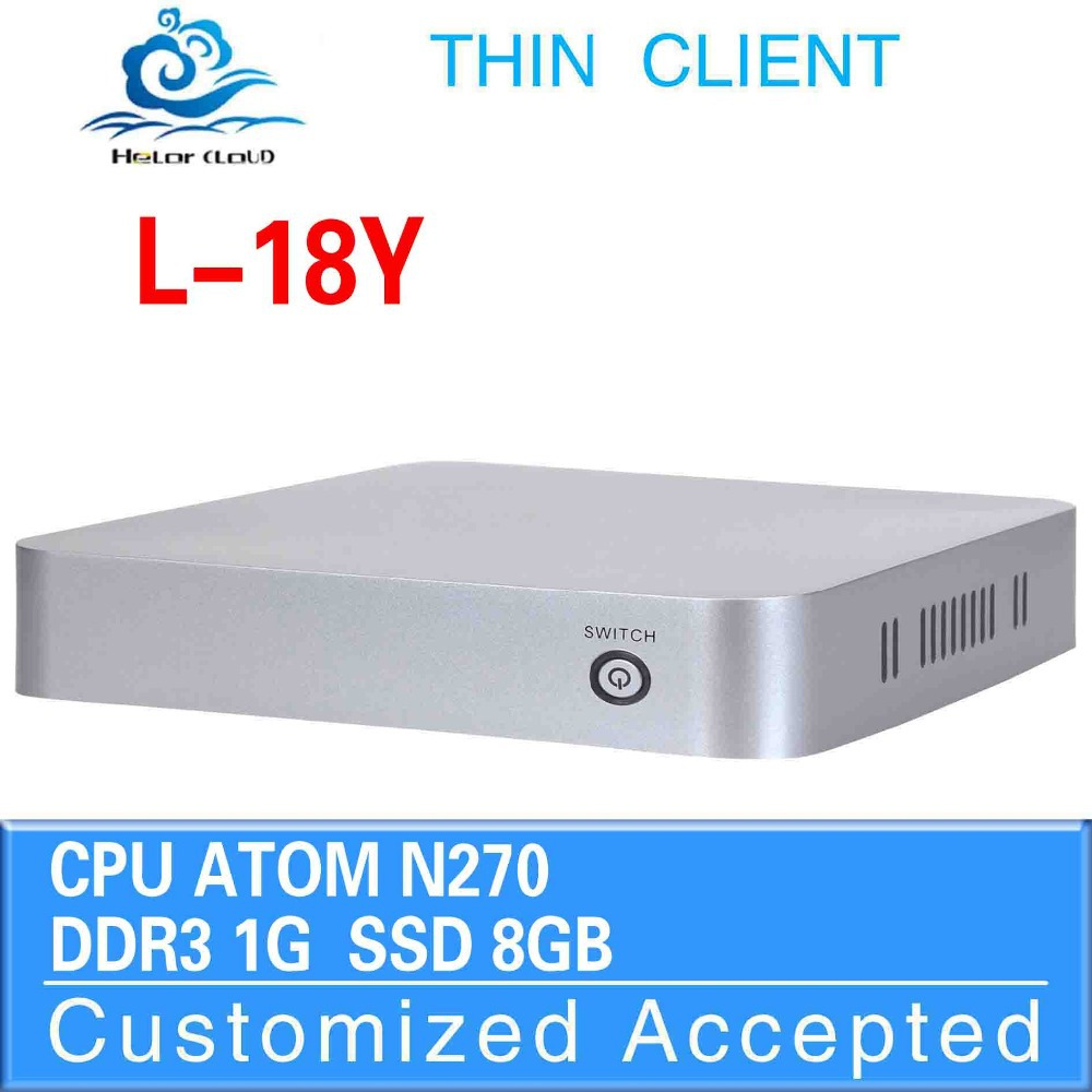 hot selling!! Fan desktop mimi computer L-18Y atom N270 1GB-RAM 8GB-SSD HDMI+VGA mini pc thin client(China (Mainland))