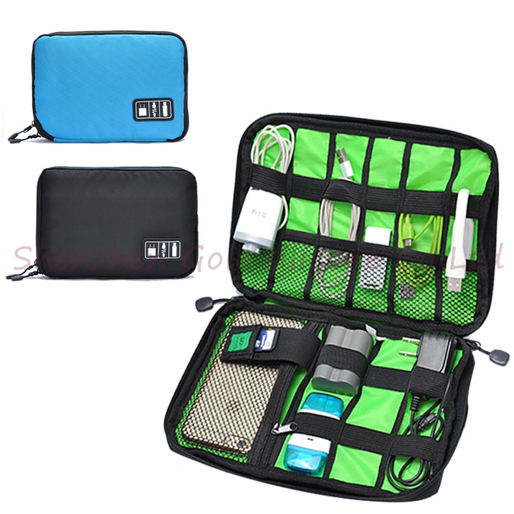 500pcs/lot Fashion Organizer System Kit Case Storage Bag Digital Gadget Devices USB Cable Earphone Pen Travel Insert Portable(China (Mainland))