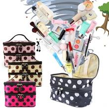 2016 Hot New Women Portable Cosmetic Retro Dot Pattern Mirror Beauty Makeup Case Bag
