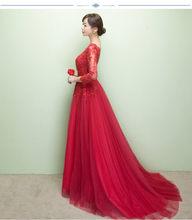 2017 vestido de festa de 3/4 Mangas Apliques de Prata Vestido Formal Longa Noite Vestido de Festa vestido longo(China)