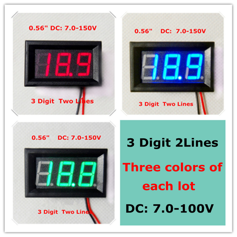 """Three colors 0.56"""" Digital Voltmeter DC7-150V Two wires 3 digit electric bicycle car Voltage Panel Meter [ 3 pieces / lot](China (Mainland))"""