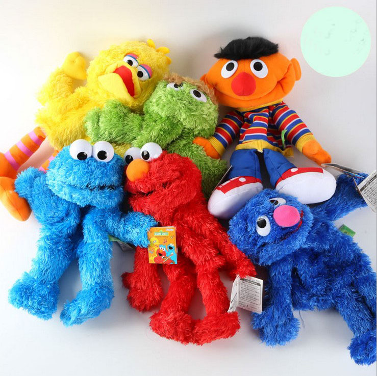 1pcs Sesame Street Elmo Plush cloth dolls Early childhood parent-child interactive games 35CM 5 designs 20160502(China (Mainland))