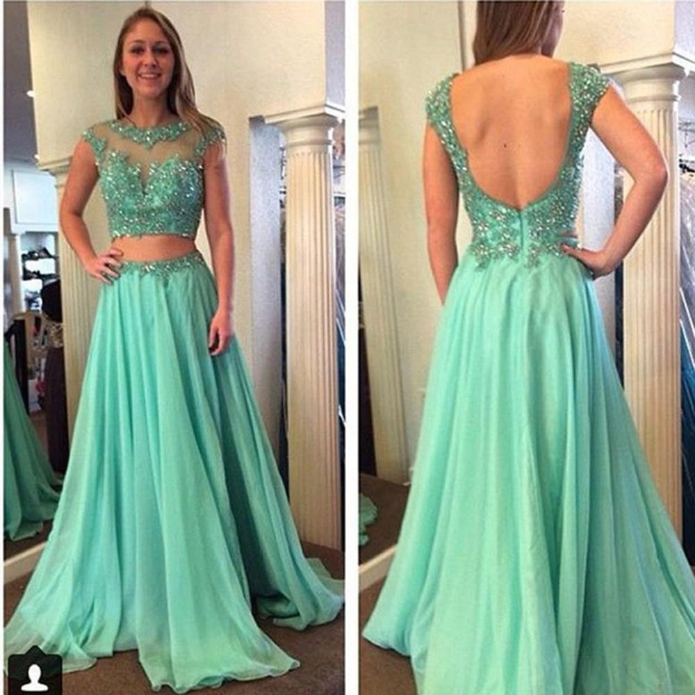 Mint green elegant long evening dresses cheap formal for Cheap 2 piece wedding dresses