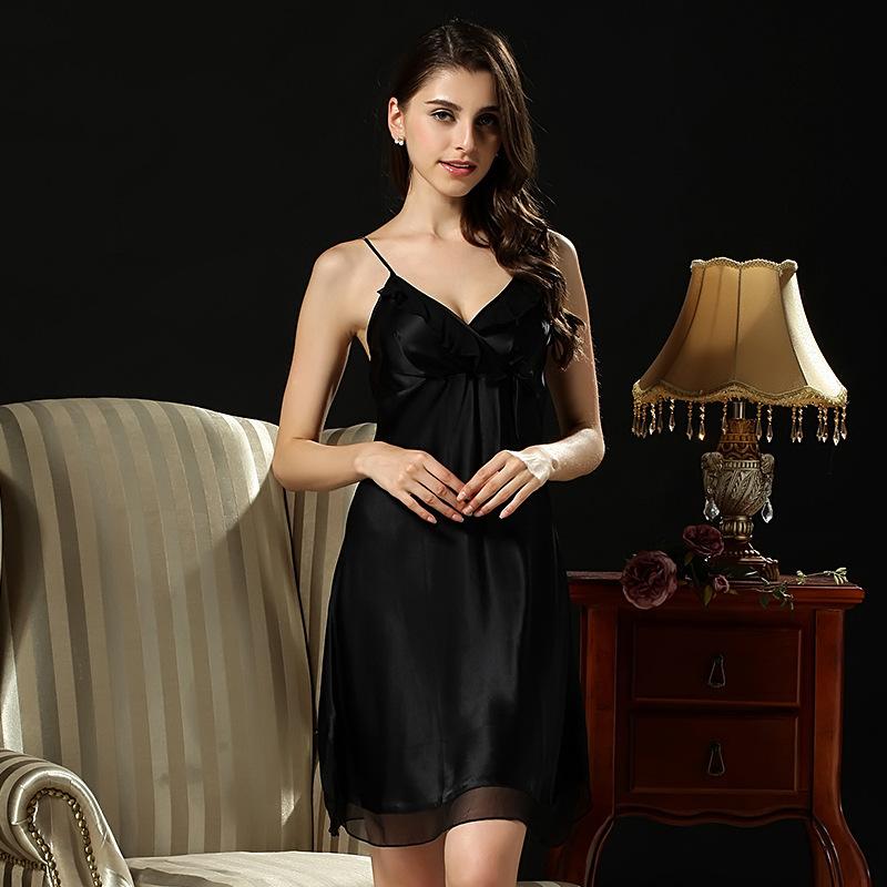 2016 Pijama Sleepwear Natural Silk Nightgowns Women Sexy V Neck 100% Nightdress Sleeveless Sleep Skirts Lace Suspenders D1169(China (Mainland))