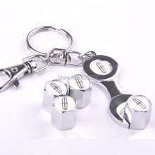 Car Wheel Tire Valve Caps Wrench Keychain For Lincoln Car Keychain Promotional Trinket Key Chain Ring(4-Piece/Pack)(China (Mainland))