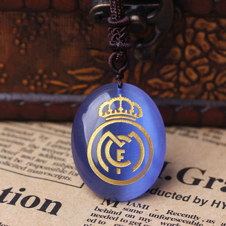 Chinese traditional gifts Christmas gifts Real Madrid soccer team logo Blue Cat's Eye Pendant memorabilia fans supplies(China (Mainland))