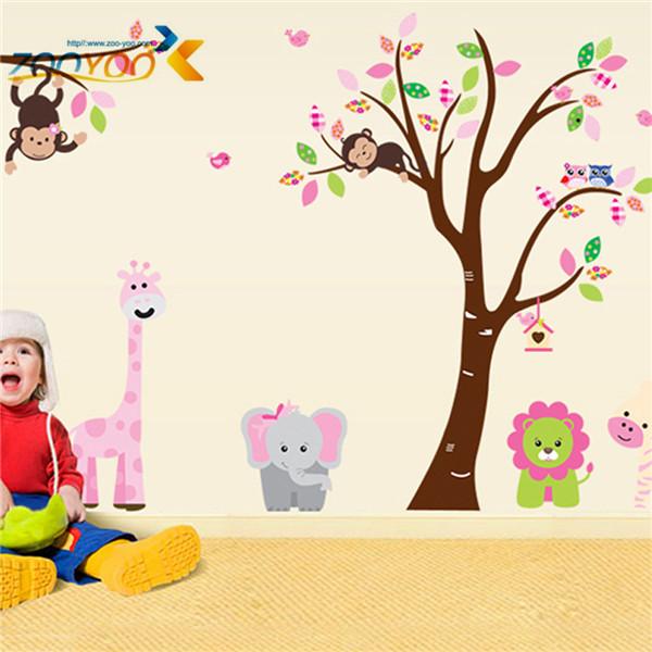 Зоопарк обезьяна лев слон мультфильм животных стены наклейки для детей номеров ZooYoo216 декоративные съемный пвх стены этикету