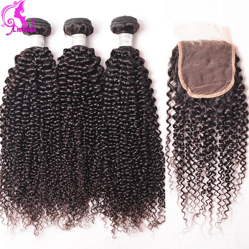 Brazilian Curly Virgin Hair With Closure 4 Bundles With Lace Closure Human Hair Weave With Closure Afro Kinky Curly Virgin Hair
