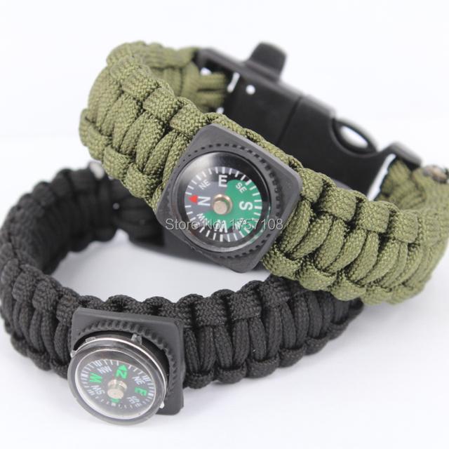 Новинка военные плетеный компас выживания paracord браслеты с огнем стартера пряжки, ...