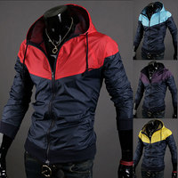Free shipping 2015 New style fashion mens hooded coats casual active Jacket Color matching men windbreak jackets 4 colors D081