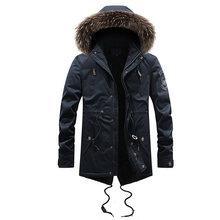 Модная зимняя куртка мужское длинное пальто с капюшоном Толстая теплая парка мужская с воротником из искусственного меха бархатная Военна...(China)