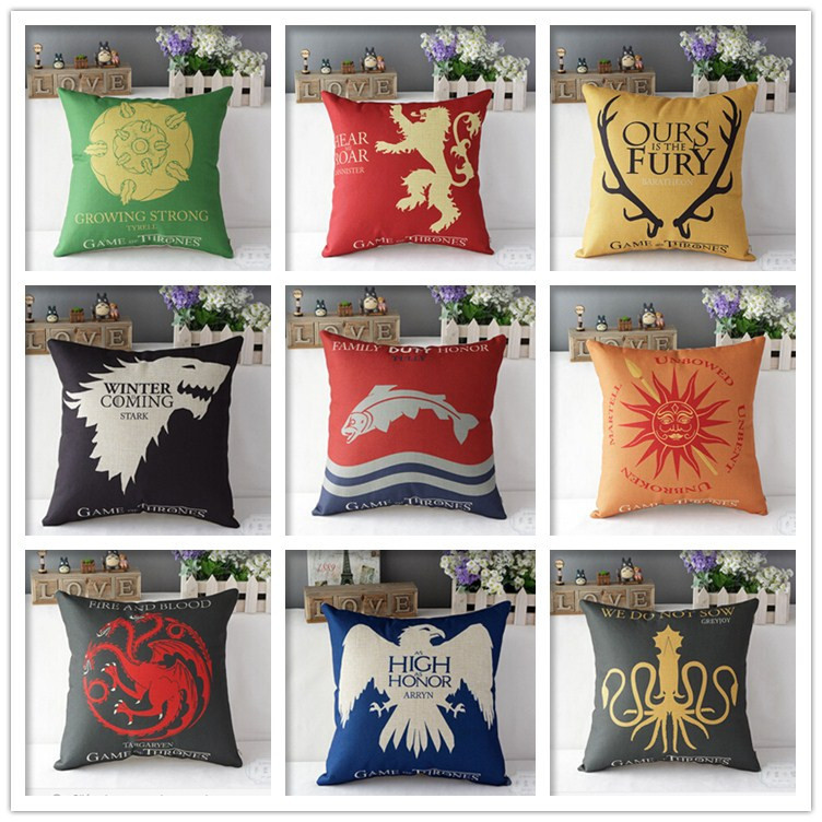 2015 Hot Sale Promotion Game of Thrones cushion cover pillow decorative pillow cushion sofa seats pillow Sham pillowcase(China (Mainland))