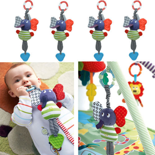 Free shipping new Christmas Music Elephant Lathe Rattles Hang Baby Kids Dolls Educational Toys Teether