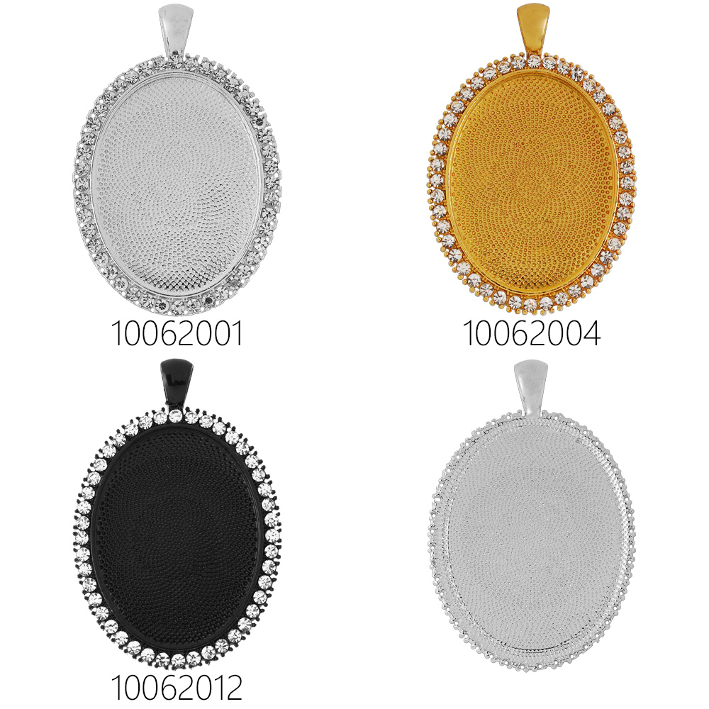 10 Oval Pendant bezel,pendant blank with clear rhinestone,photo holder,metal filled pendant tray 30x40mm-100620<br><br>Aliexpress