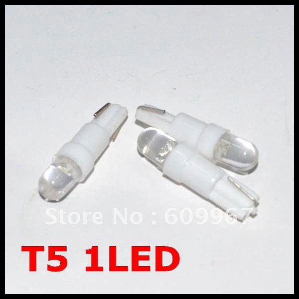 Freeshipping T5 led Car Led light T10 LED t5 Wedge BULB W5W LAMP Dashboard Gauge Instrument Car Auto Side Wedge Light Lamp Bulb(China (Mainland))