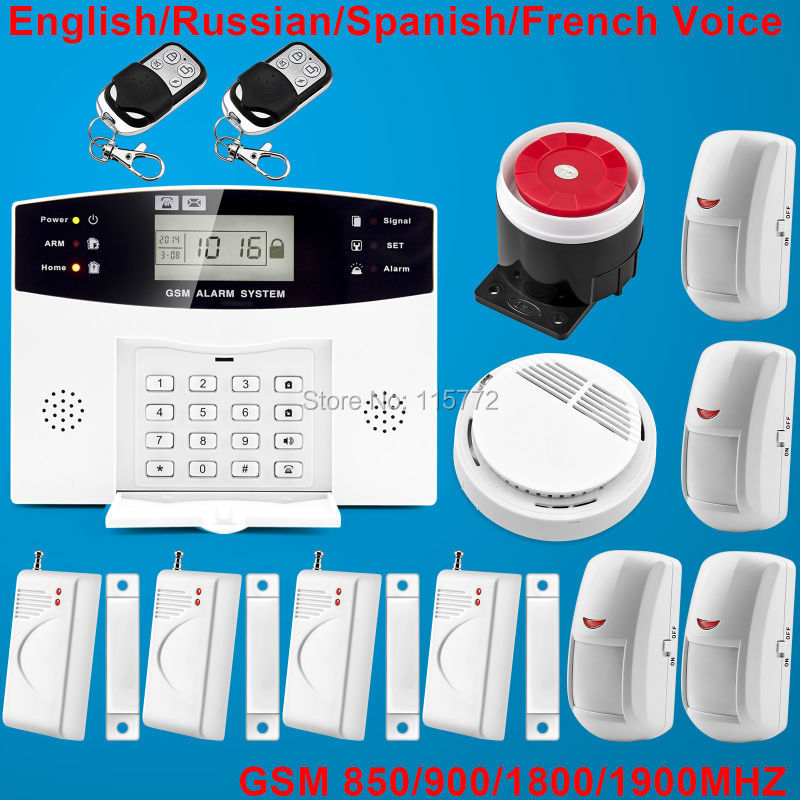 Free shipping!900/1800/1900MHz GSM SMS Home Burglar Security Alarm System Detector Sensor Kit Smoke Detector<br><br>Aliexpress
