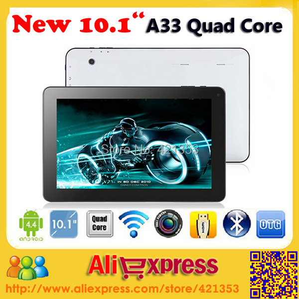 2015 Cheapest Allwinner A33 Quad Core10 inch Tablet PC 1GB RAM 8GB/16GB ROM Dual Camera Bluetooth Android 4.4 Tablet PC+Gifts(China (Mainland))