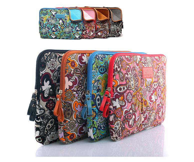 Colorful Flower Design 10'' 12'' 13'' 14'' 15'' Laptop Computer Case Cover Zipper Notebook PC Sleeve Bag Canvas Pouch For HP IBM(China (Mainland))