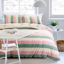 YADIDI 100% Cotton Japanese Style Rainbow Stripe Bedding Set 4pcs Home Red Green Blue Bedclothes Twin Queen King Size Luxury(China (Mainland))