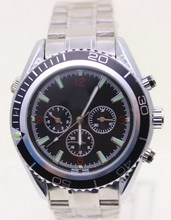 Lujo nueva james bond 007 reloj automático dial negro naranja bisel inoxidable pulsera de la alta calidad del deporte del Mens relojes